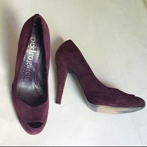 Pedro Garcia Dark Purple Peep Toe Four Inch Heels